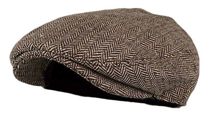 Wonderful Fashion Men's Classic Herringbone Tweed Wool Blend Newsboy IVY Hat (Brown, LXL)