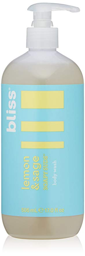 Bliss Lemon & Sage Soapy Suds Body Wash | Gentle & Hydrating for Supremely Soft Skin |  Paraben Free, Cruelty Free | 17.0 fl oz